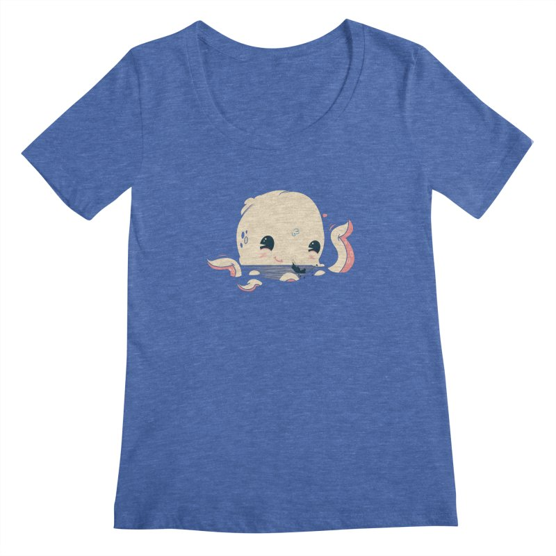 Adorable Octopus Battle Women's Scoopneck by Ryder Doty Design Shop