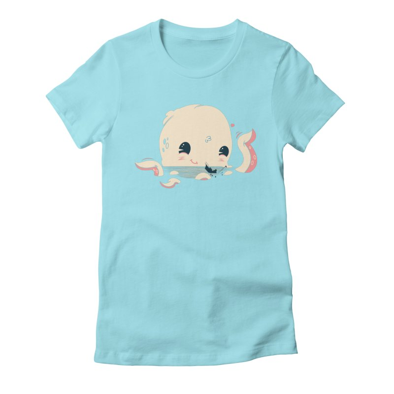 Adorable Octopus Battle Women's Fitted T-Shirt by Ryder Doty Design Shop