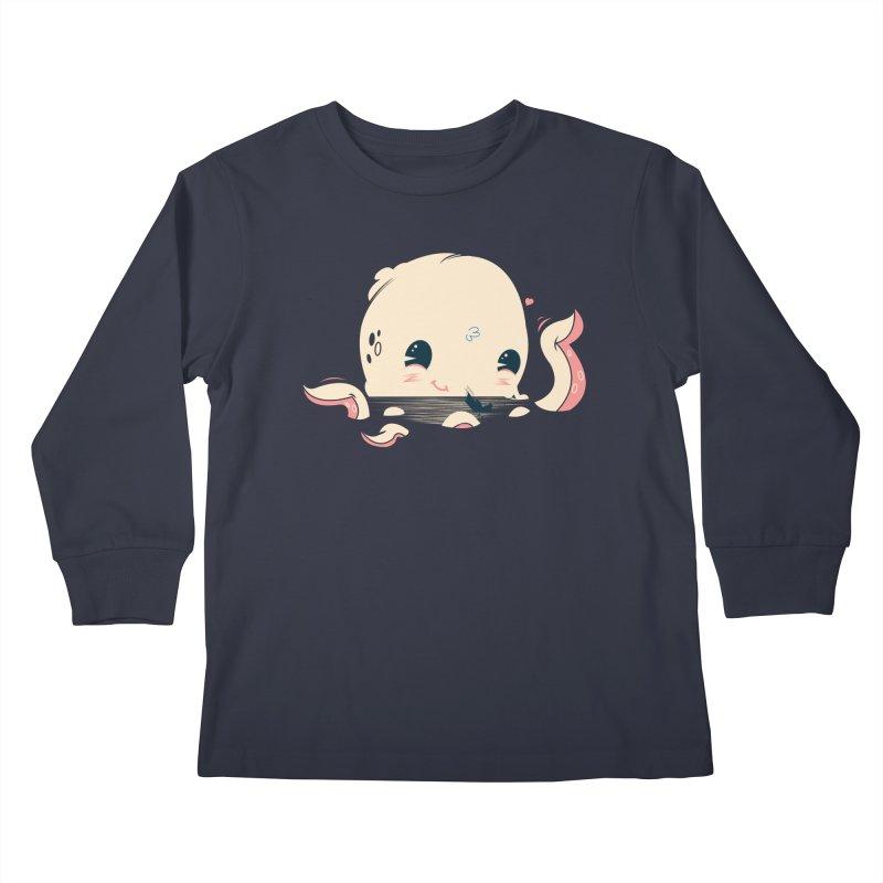 Adorable Octopus Battle Kids Longsleeve T-Shirt by Ryder Doty Shop