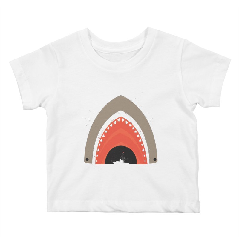 Great White Bite Kids Baby T-Shirt by Ryder Doty Shop