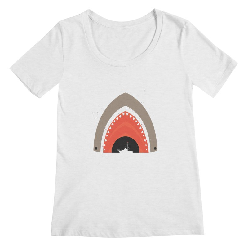 Great White Bite Women's Scoopneck by Ryder Doty Design Shop