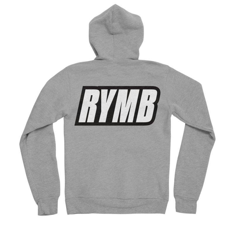 RYMB Logo Black and White Men's Sponge Fleece Zip-Up Hoody by RYMB Everyday