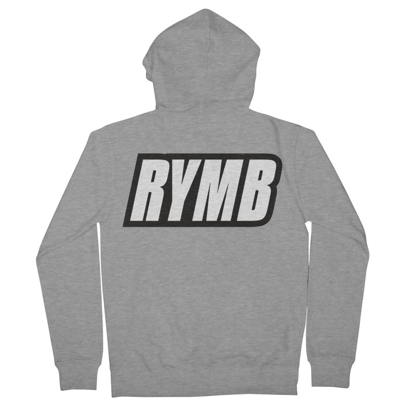 RYMB Logo Black and White Men's French Terry Zip-Up Hoody by RYMB Everyday