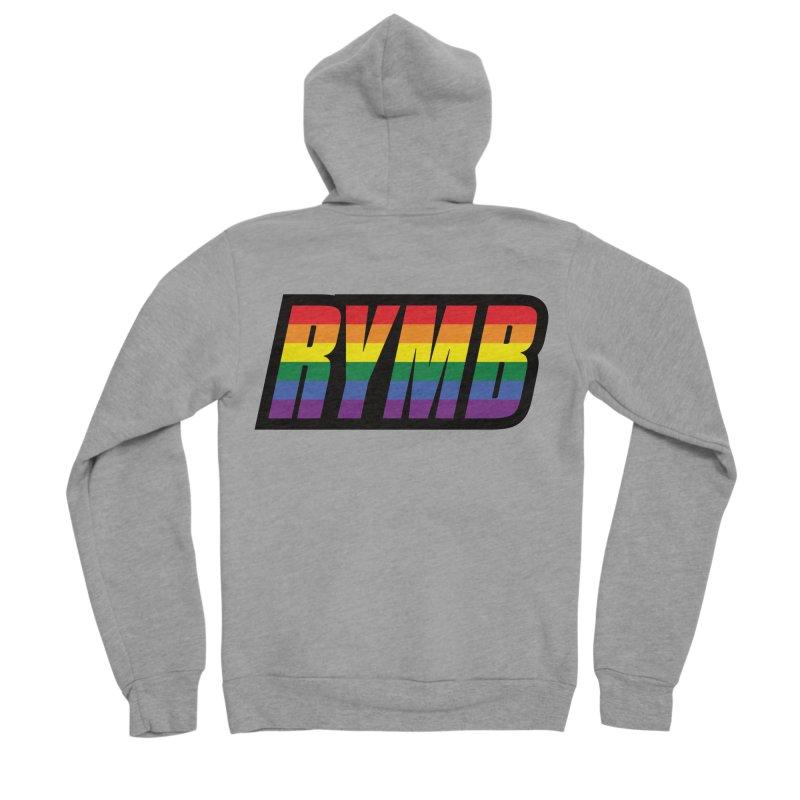 LGBTQ Flag RYMB Logo Men's Sponge Fleece Zip-Up Hoody by RYMB Everyday