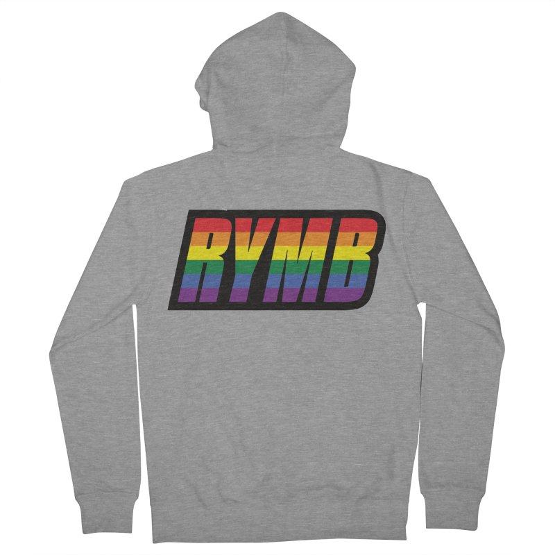 LGBTQ Flag RYMB Logo Men's French Terry Zip-Up Hoody by RYMB Everyday