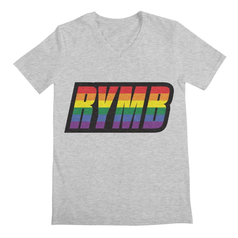 LGBTQ Flag RYMB Logo Men's Regular V-Neck by RYMB Everyday