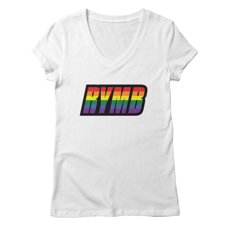 LGBTQ Flag RYMB Logo Women's Regular V-Neck by RYMB Everyday