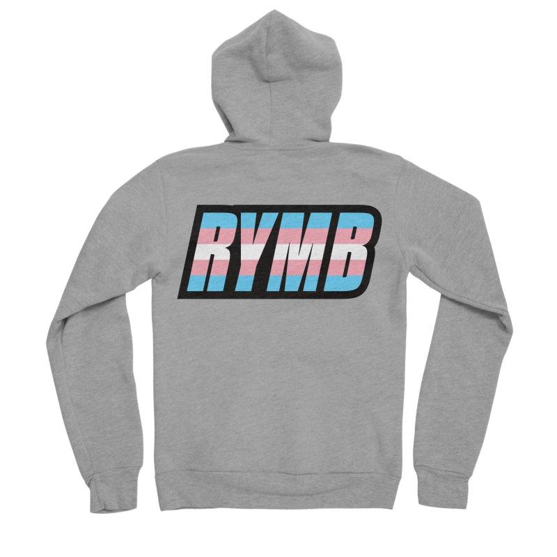 Transgender Flag RYMB Logo Men's Sponge Fleece Zip-Up Hoody by RYMB Everyday