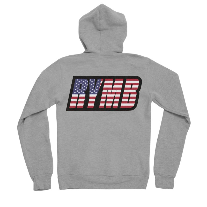 USA Flag RYMB Logo Men's Sponge Fleece Zip-Up Hoody by RYMB Everyday