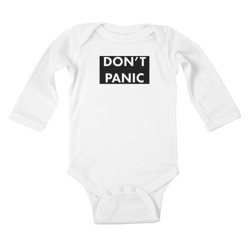 Don't Panic, Written in Large Friendly Letters Kids Baby Longsleeve Bodysuit by saberdog's Artist Shop