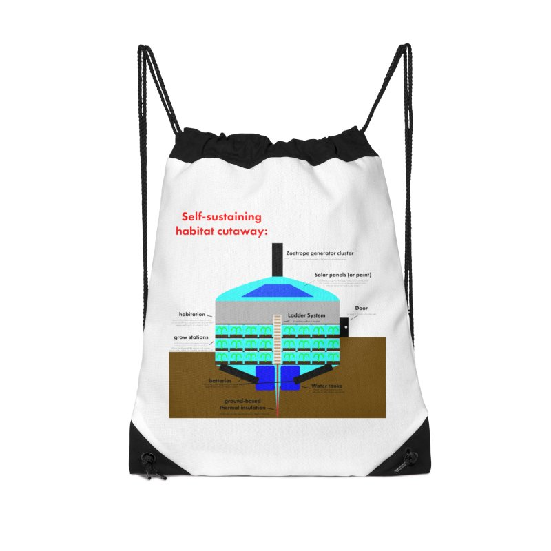 Self-Sustaining Habitat mk2 Accessories Drawstring Bag Bag by saberdog's Artist Shop
