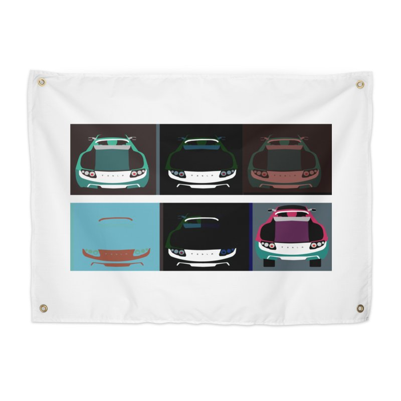 Warhol Style Teslas Home Tapestry by saberdog's Artist Shop