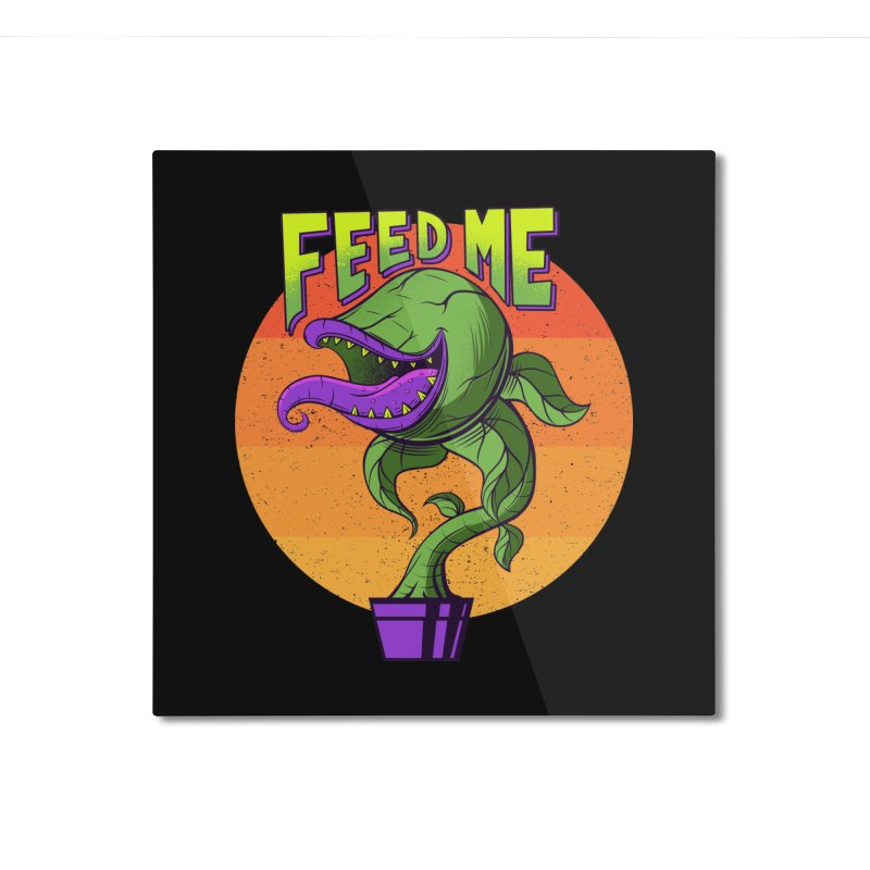 Feed me - 80s Plant Home Mounted Aluminum Print by sachpica's Artist Shop