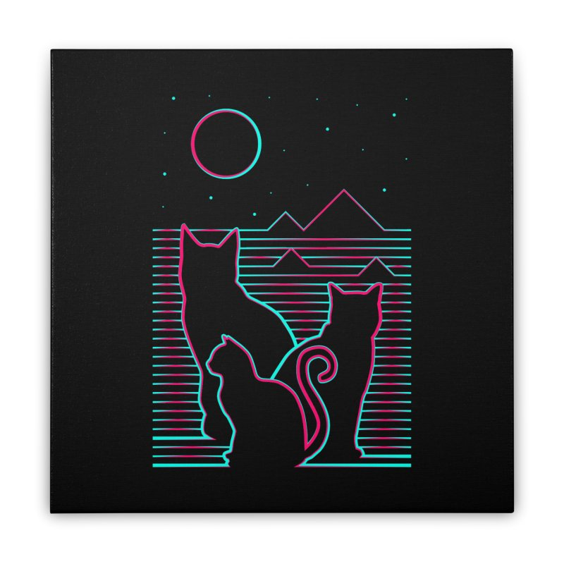 Night and Cats Home Stretched Canvas by sachpica's Artist Shop