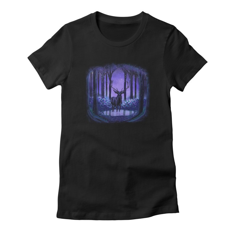 Elf forest Women's Fitted T-Shirt by sachpica's Artist Shop