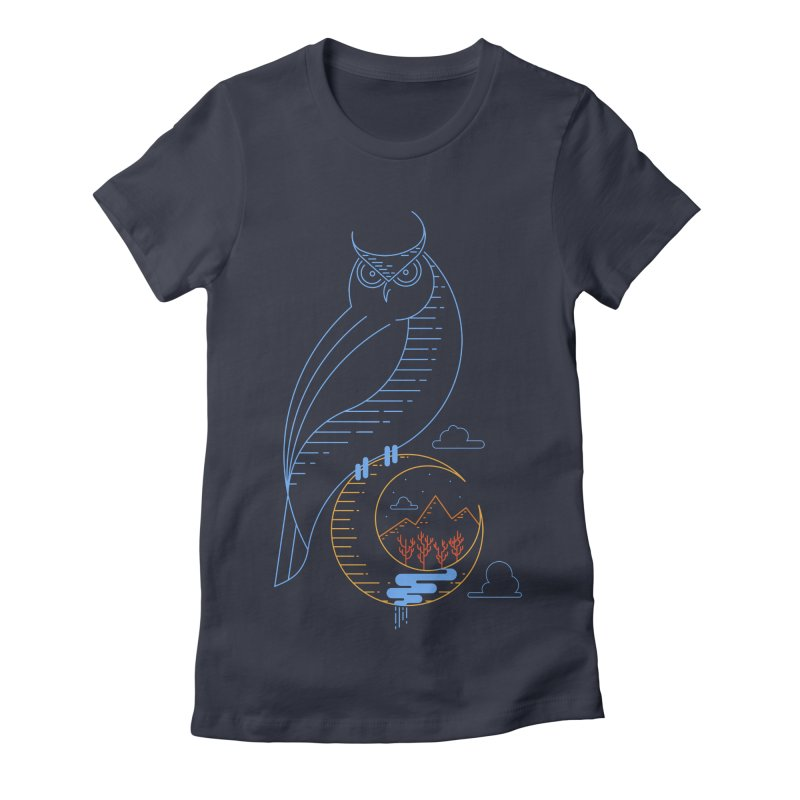 Night Owl Women's Fitted T-Shirt by sachpica's Artist Shop