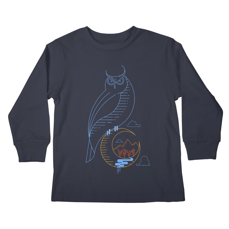 Night Owl Kids Longsleeve T-Shirt by sachpica's Artist Shop