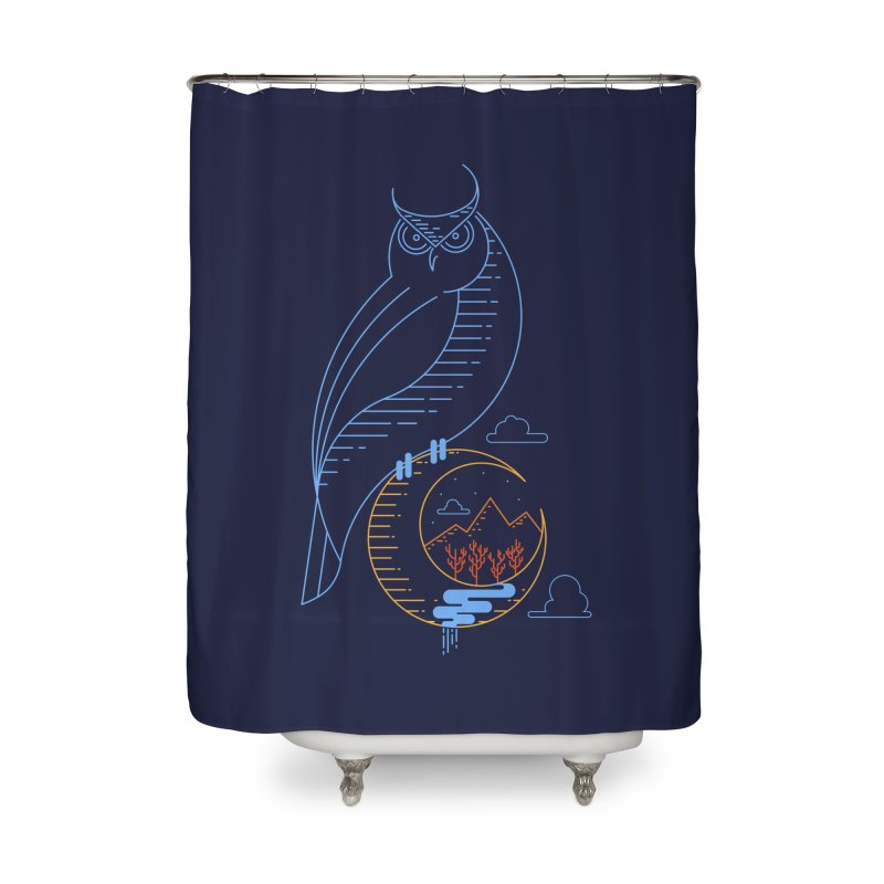 Night Owl Home Shower Curtain by sachpica's Artist Shop