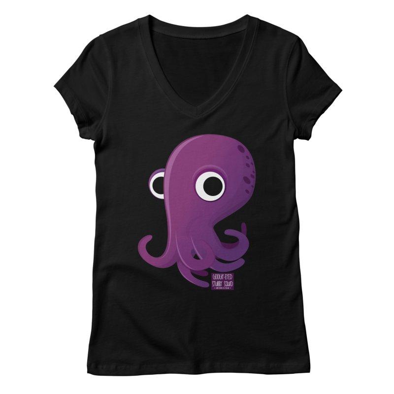 Googly eyed stubby squid Women's V-Neck by sadhustudio's Artist Shop