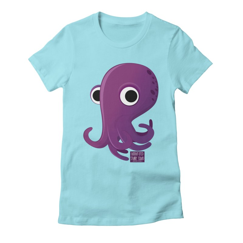 Googly eyed stubby squid Women's Fitted T-Shirt by sadhustudio's Artist Shop