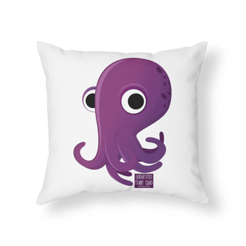 Googly eyed stubby squid Home Throw Pillow by sadhustudio's Artist Shop
