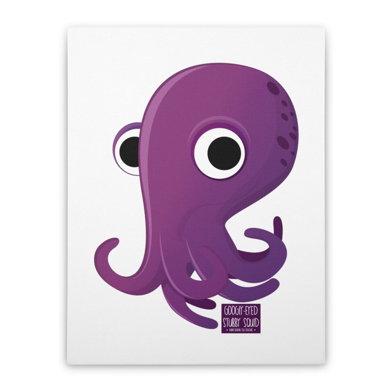 Googly eyed stubby squid Home Stretched Canvas by sadhustudio's Artist Shop