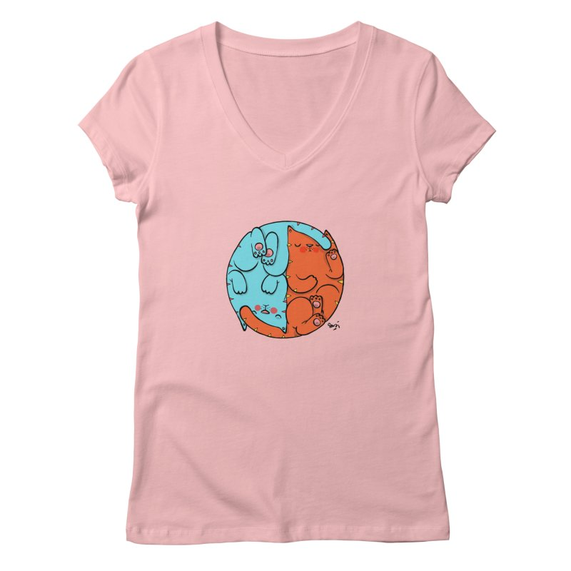 cat'n roll Women's V-Neck by Sadi Tekin's Shop