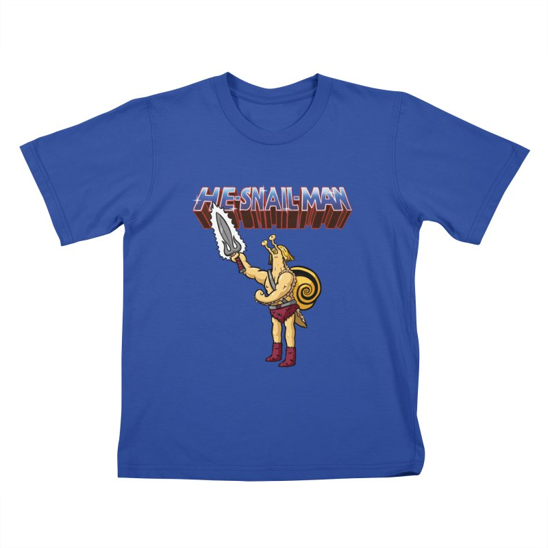 He-Snail-Man Kids T-Shirt by Sad Salesman's Shirts
