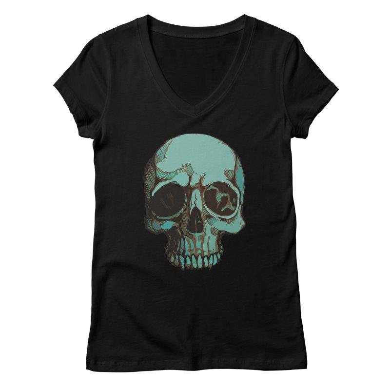 skull i (sketch) Women's V-Neck by saintdevil's Artist Shop