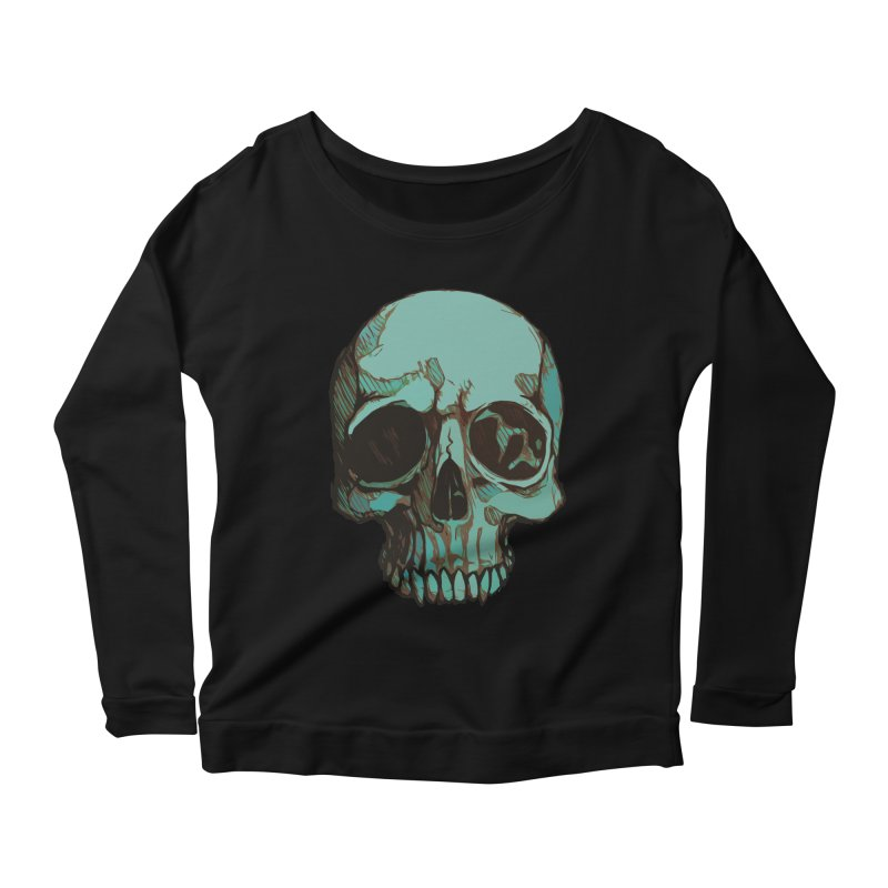 skull i (sketch) Women's Longsleeve Scoopneck  by saintdevil's Artist Shop