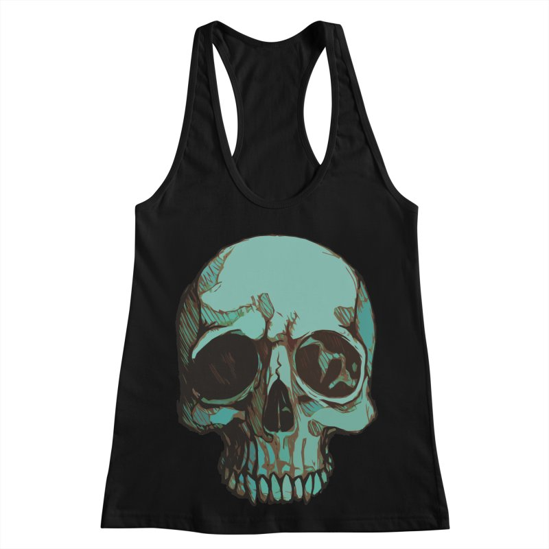 skull i (sketch) Women's Racerback Tank by saintdevil's Artist Shop