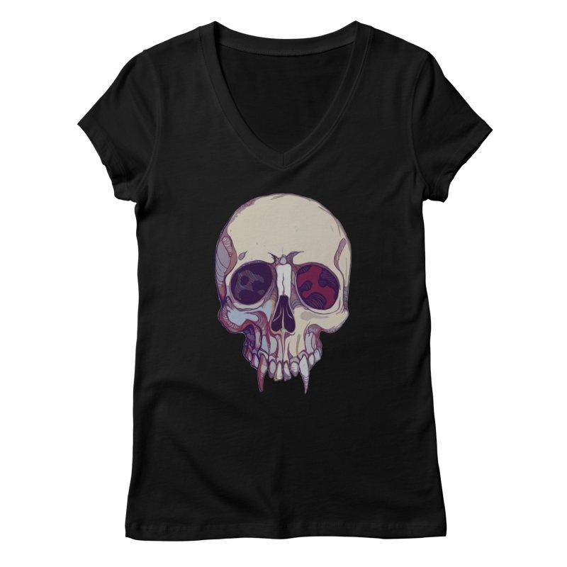 skull ii (vampire) Women's V-Neck by saintdevil's Artist Shop