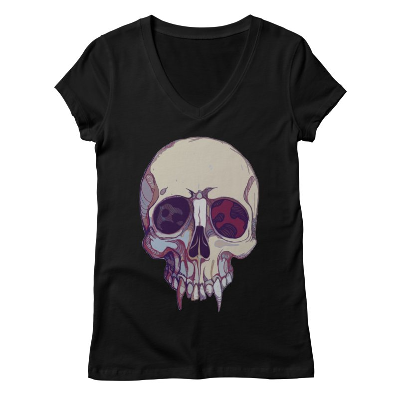 skull ii (vampire) Women's Regular V-Neck by saintdevil's Artist Shop