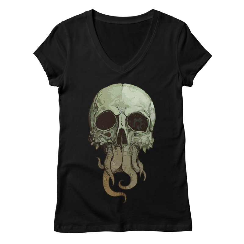 skull iii (cthulhu) Women's Regular V-Neck by saintdevil's Artist Shop