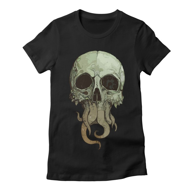 skull iii (cthulhu) Women's Fitted T-Shirt by saintdevil's Artist Shop