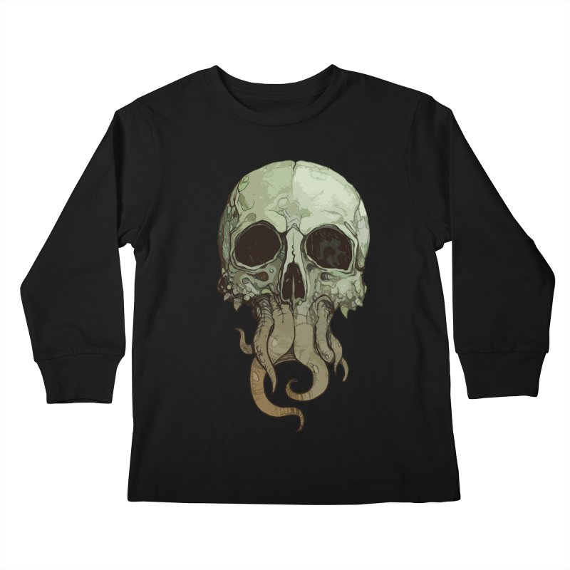 skull iii (cthulhu) Kids Longsleeve T-Shirt by saintdevil's Artist Shop