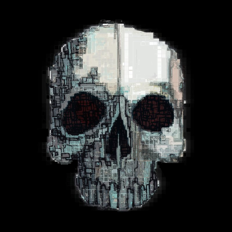 skull v (glitch) Men's Pullover Hoody by saintdevil's Artist Shop