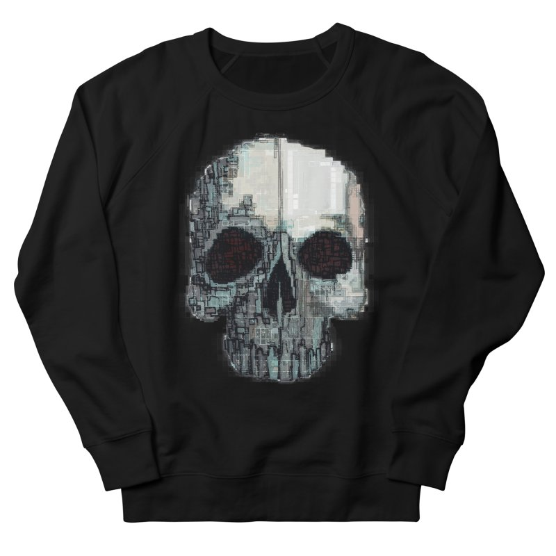 skull v (glitch) Men's French Terry Sweatshirt by saintdevil's Artist Shop