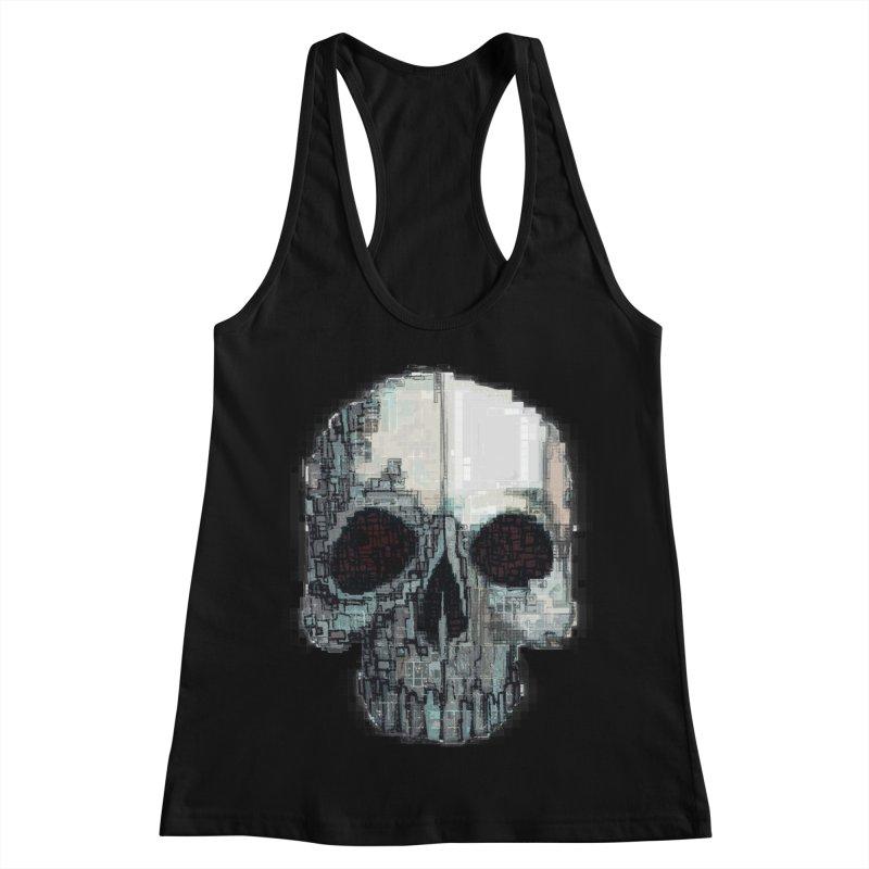 skull v (glitch) Women's Racerback Tank by saintdevil's Artist Shop