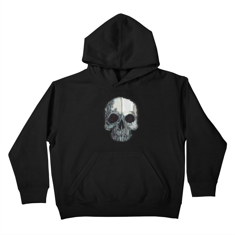 skull v (glitch) Kids Pullover Hoody by saintdevil's Artist Shop