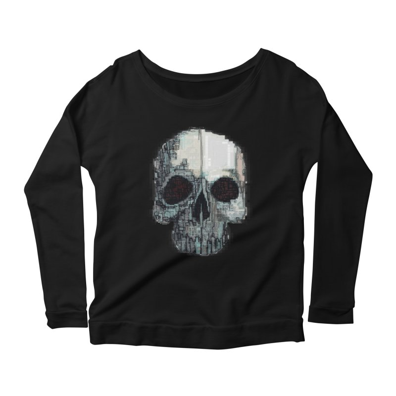 skull v (glitch) Women's Longsleeve Scoopneck  by saintdevil's Artist Shop