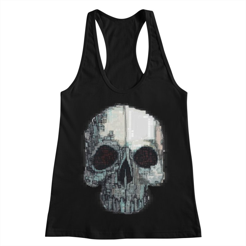 skull v (glitch) Women's Racerback Tank by saintdevil's Artist Shop