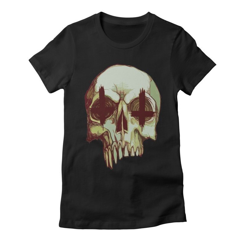 skull vi (evil) Women's Fitted T-Shirt by saintdevil's Artist Shop