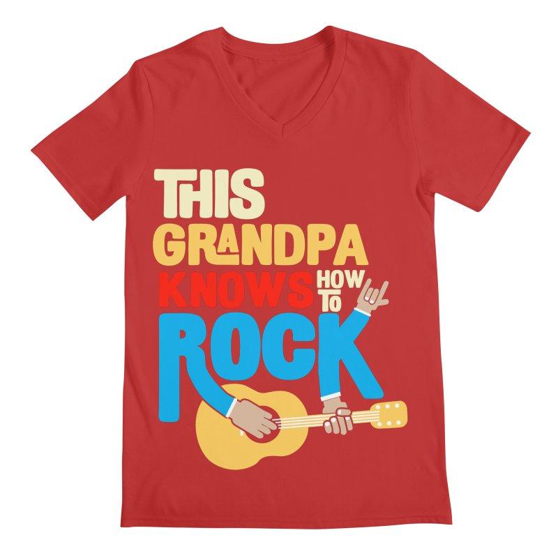 This grandpa know how to rock Men's Regular V-Neck by Saksham Artist Shop