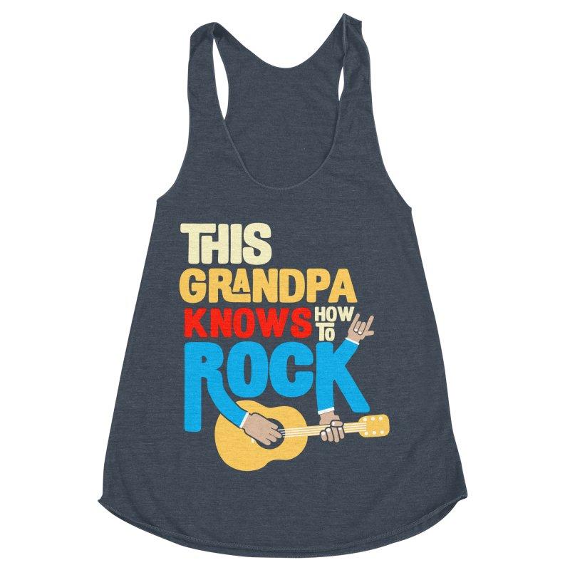 This grandpa know how to rock Women's Racerback Triblend Tank by Saksham Artist Shop