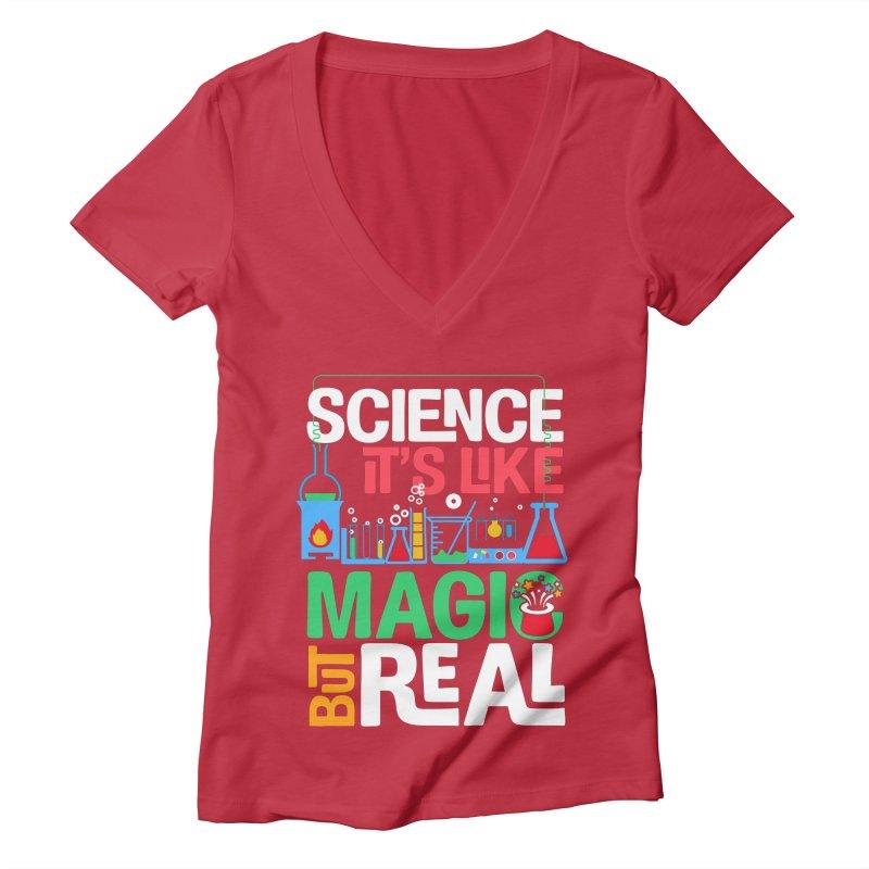 Science its like magic Women's Deep V-Neck V-Neck by Saksham Artist Shop
