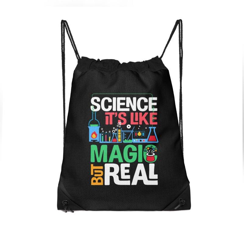 Science its like magic Accessories Drawstring Bag Bag by Saksham Artist Shop