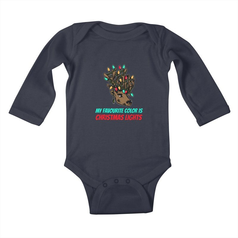 MY FAVORITE COLOR IS CHRISTMAS LIGHTS Kids Baby Longsleeve Bodysuit by Saksham Artist Shop
