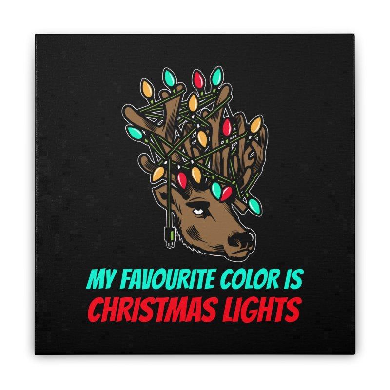 MY FAVORITE COLOR IS CHRISTMAS LIGHTS Home Stretched Canvas by Saksham Artist Shop