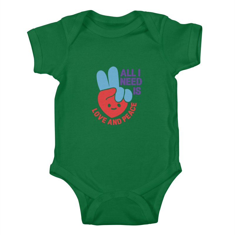 ALL I NEED IS LOVE AND PEACE Kids Baby Bodysuit by Saksham Artist Shop